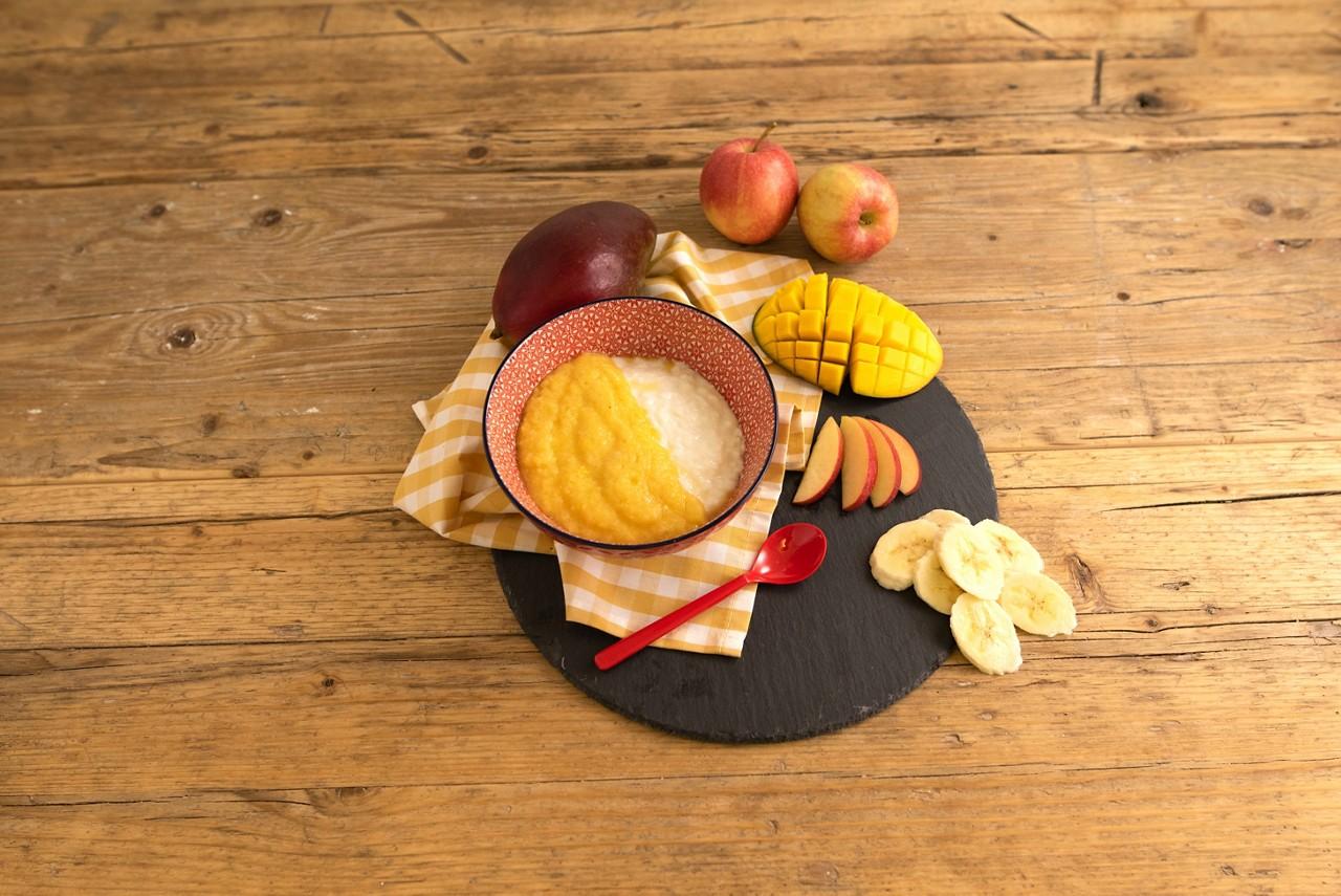 Mango-Banane-Apfel-Topping