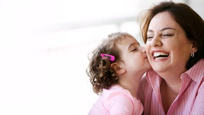 Allergy child kiss parents laughing
