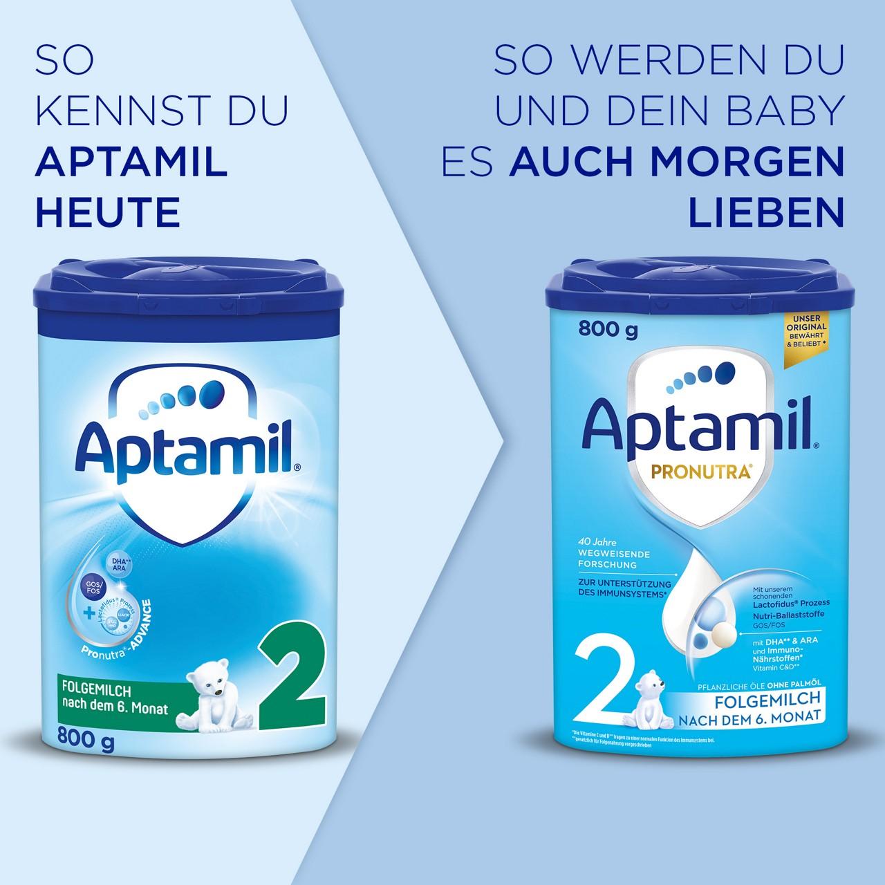 Das neue Aptamil Pronutra 2 Folgemilch mit neuer Rezeptur