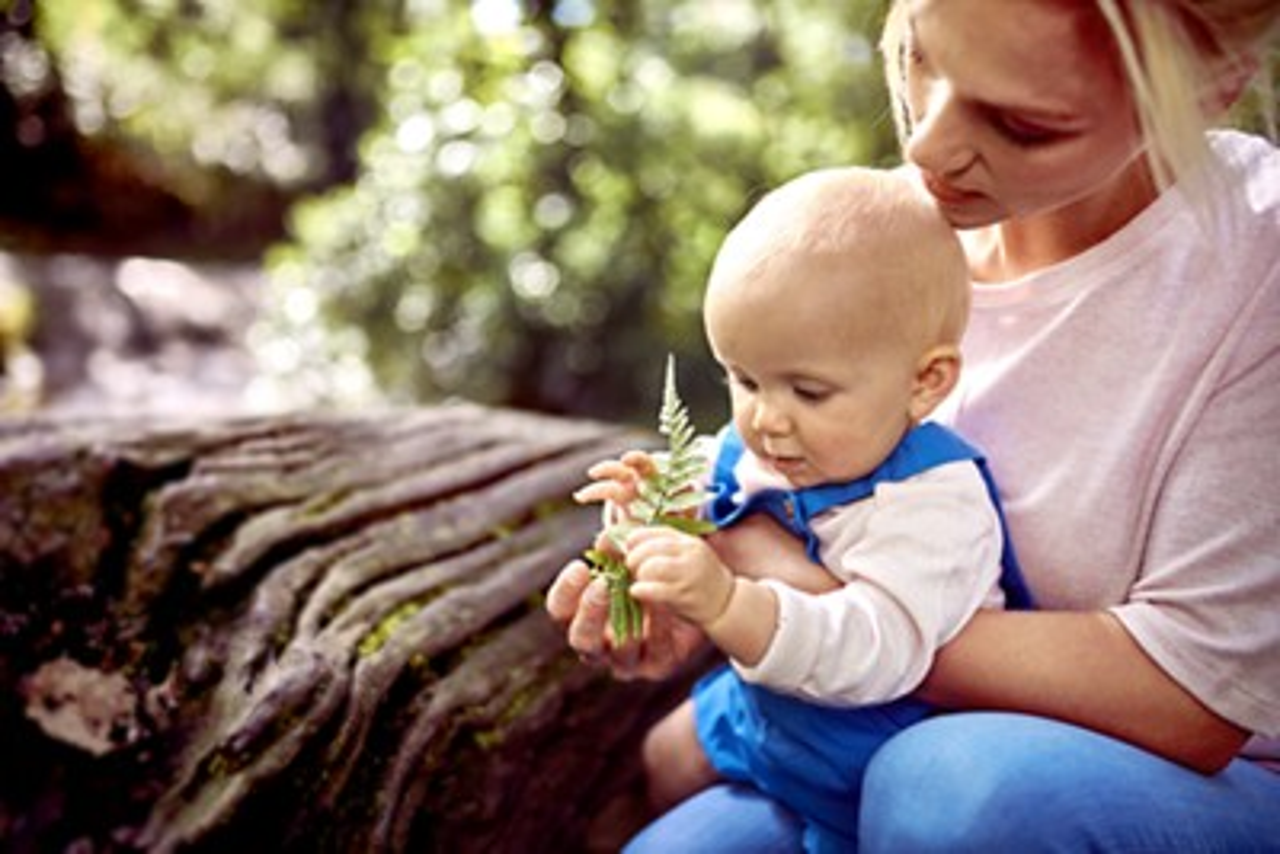 Baby spielt mit einem Würfel