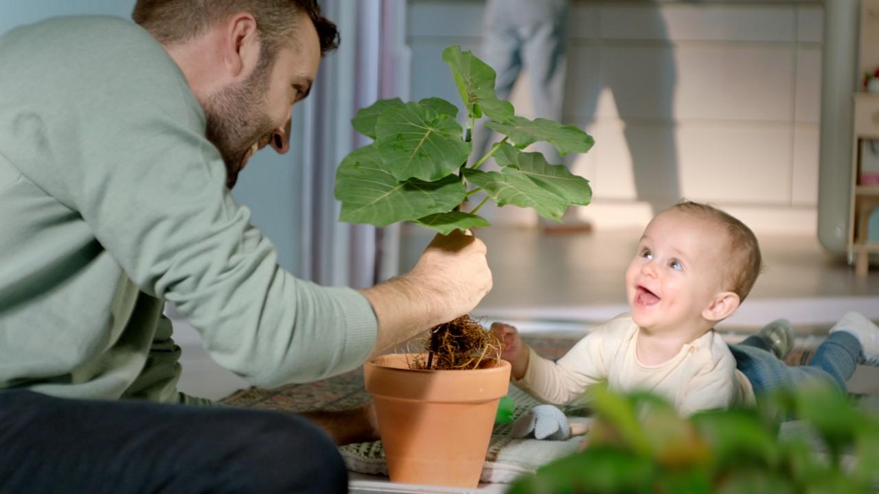 Vater und Kleinkind am pflanzen