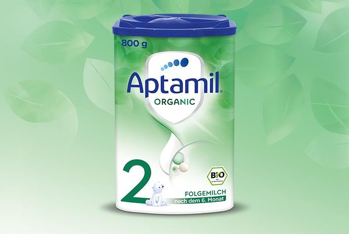 800 g Verpackung von Produkt Aptamil Organic Folgemilch 2 nach dem 6. Monat in Bio Qualität