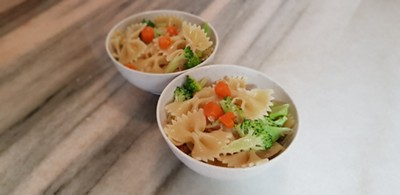 Broccoli carrot pasta finished
