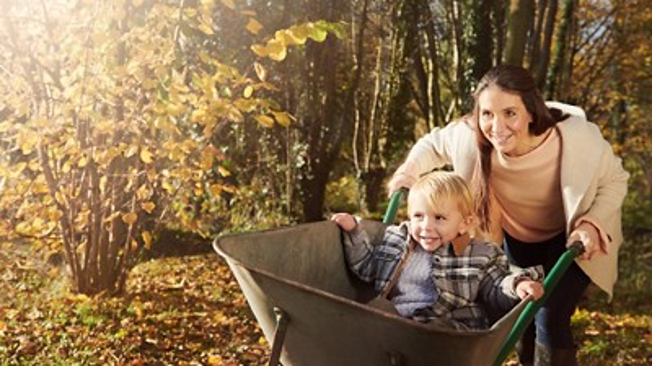Homepage Nutricia mother son wheelbarrow