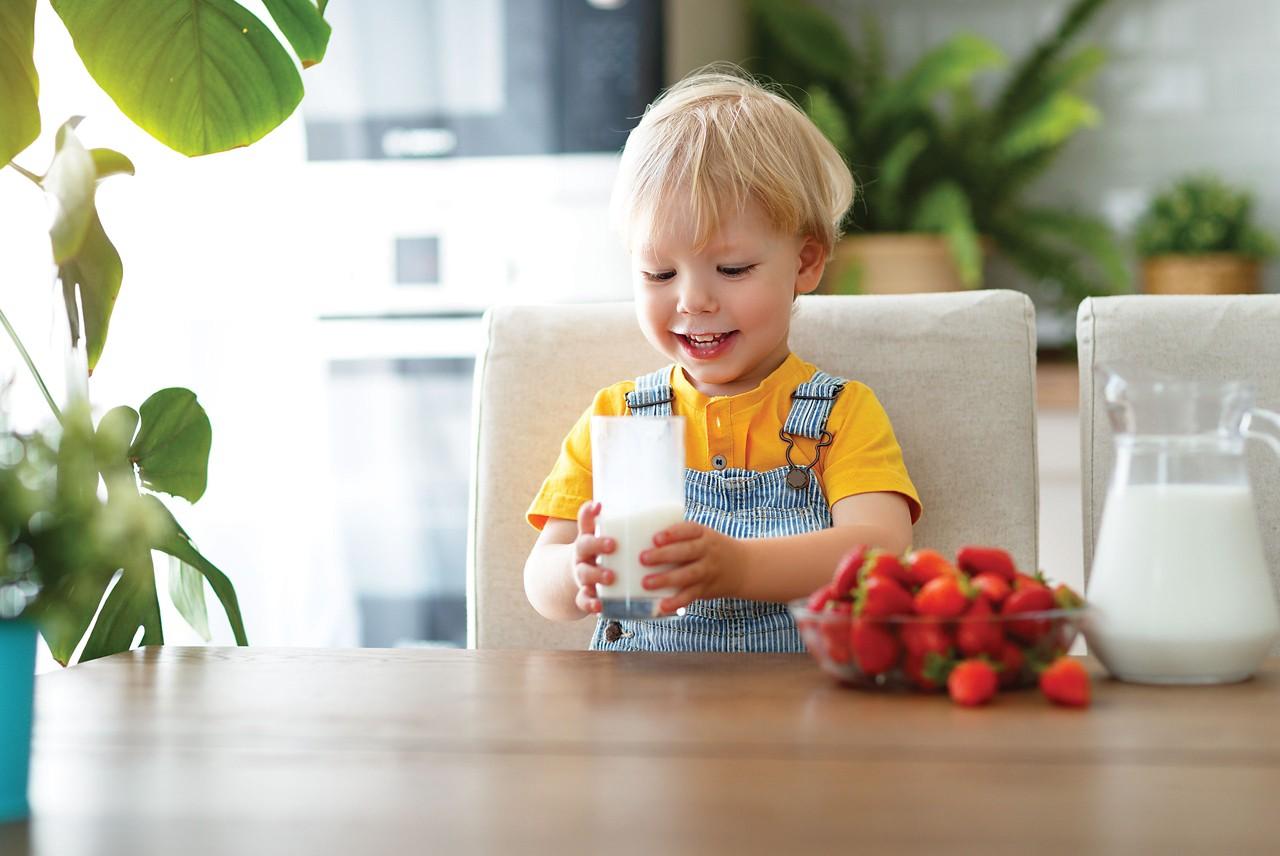 Kind trinkt Milch am Frühstückstisch