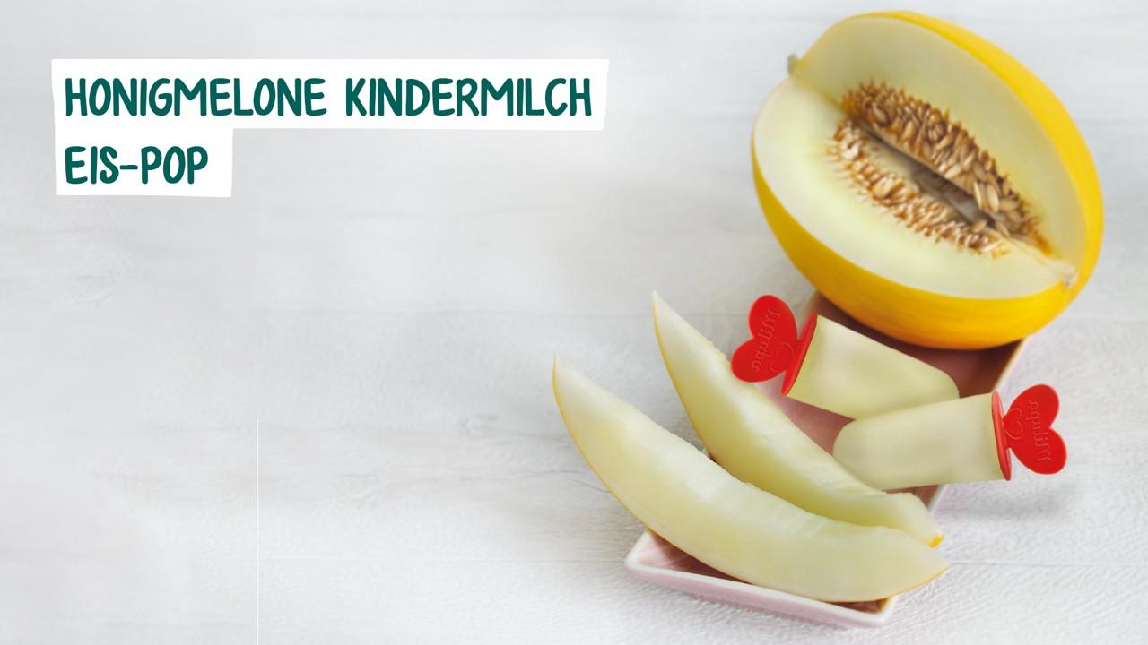 Aufgeschnittene Honigmelone und Eispop