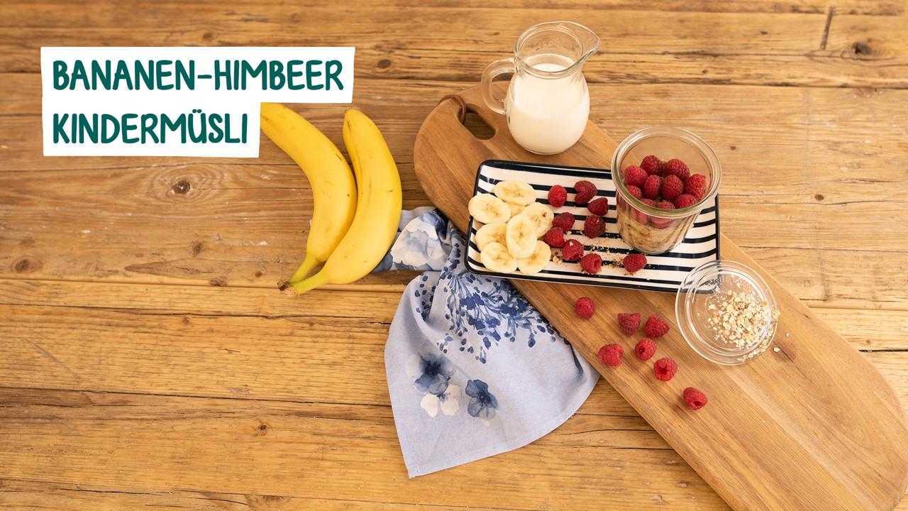 Zutaten für Bananen Himbeer Kindermüsli