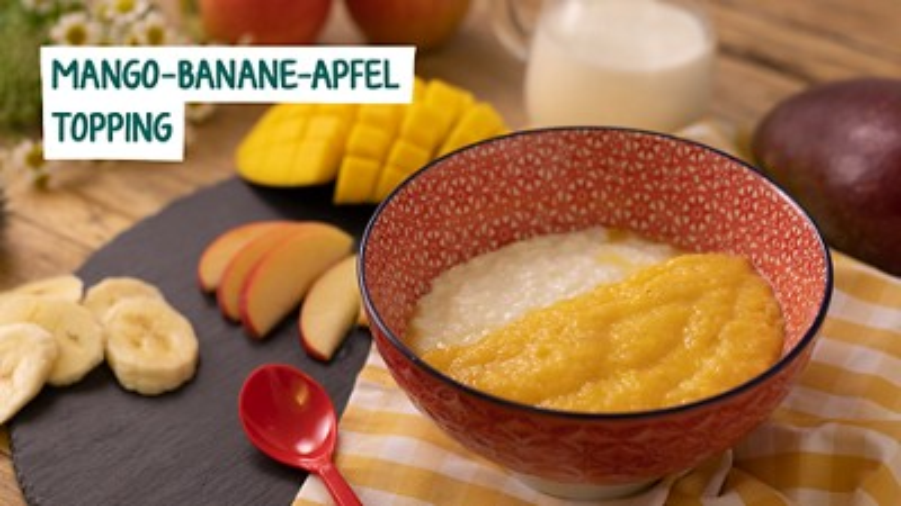 Rezept für Mango Banane Apfel Topping