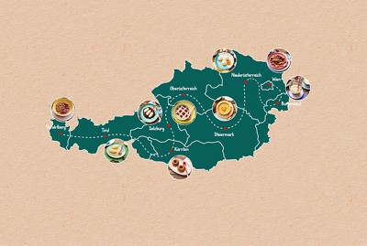 Landkarte Österreichs mit Brei-Rezepten zu jedem Bundesland