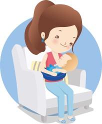 Mom hold baby cartoon