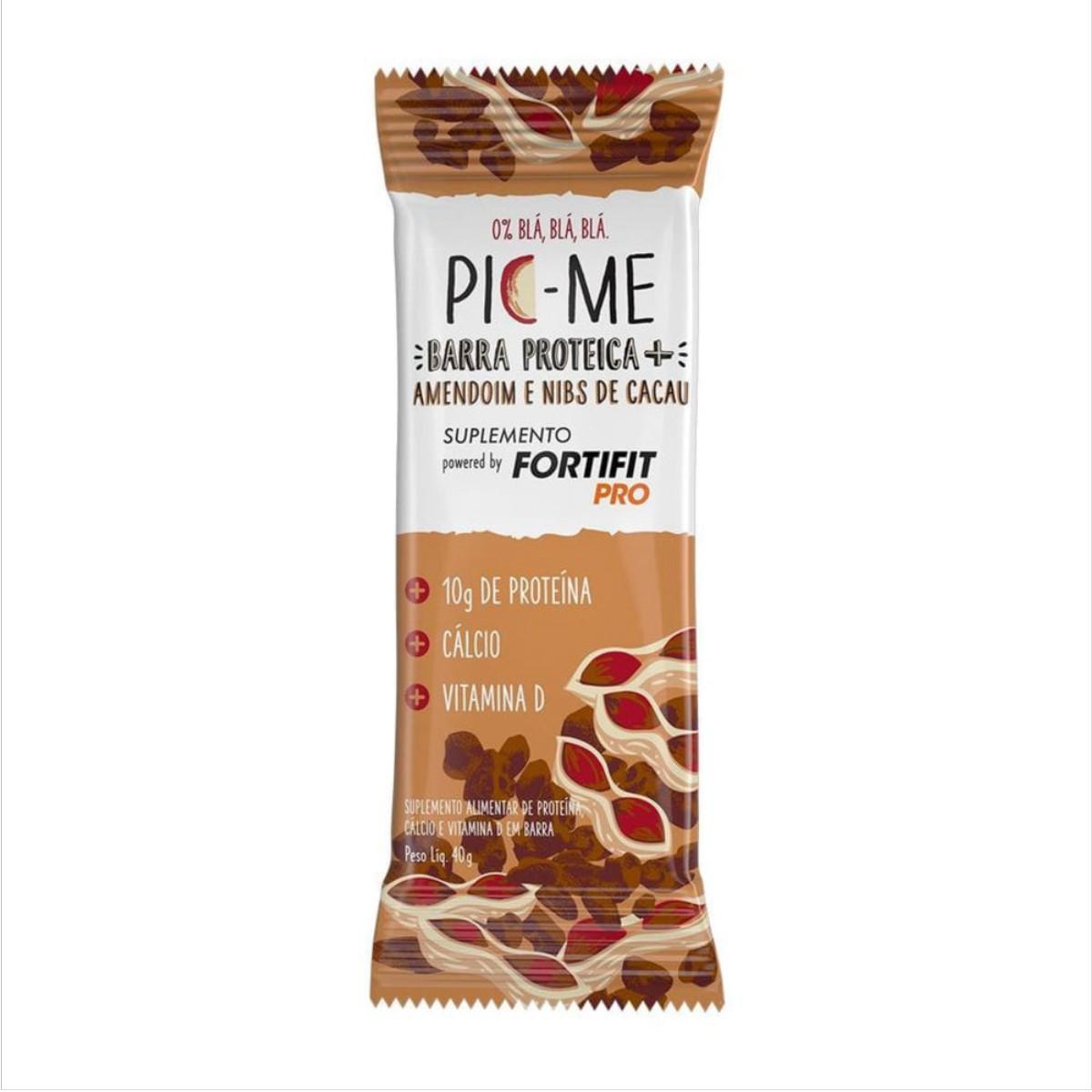 PICME Barra Proteica 40g Amendoim Nibs de Cacau