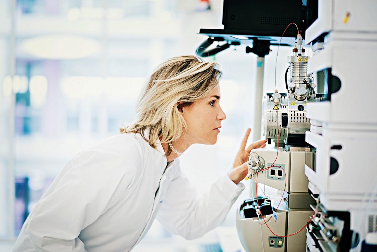 Scientist checking test