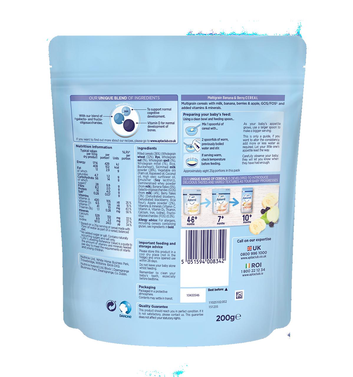 Aptamil® Multigrain Banana and Berry Cereal