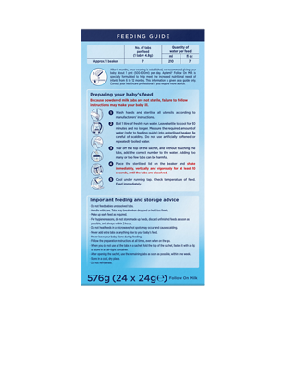 Aptamil<sup>®</sup> Stage 2 Follow On Milk&nbsp;Tabs, x24 sachets