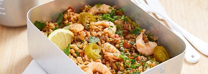 Spiced prawn lunch box
